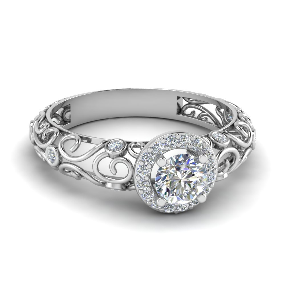 Dome Filigree Halo Vintage Round Diamond Engagement Ring In 14K White Gold