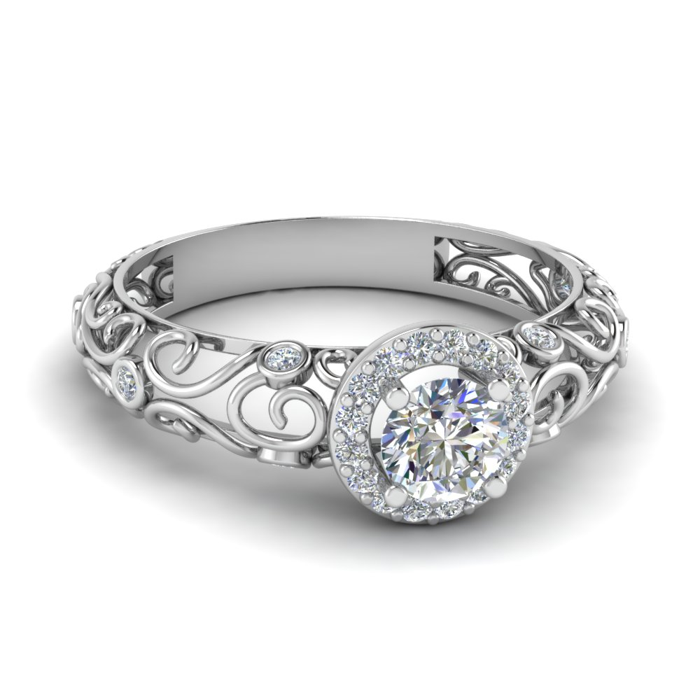 Dome Filigree Halo Vintage Round Diamond Engagement Ring In 18K White Gold
