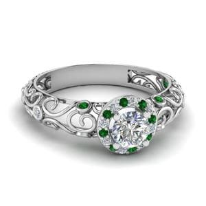 Bezel Filigree Halo Emerald Ring