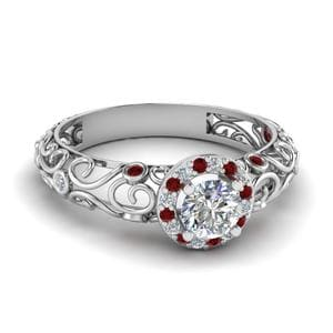 Platinum Vintage Halo Ruby Ring