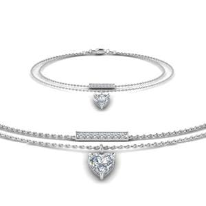 Double Chain Heart Drop Diamond Bracelet In 14K White Gold