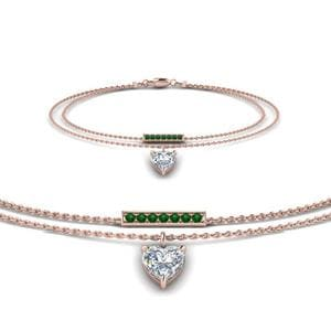 Double Chain Heart Drop Diamond Bracelet