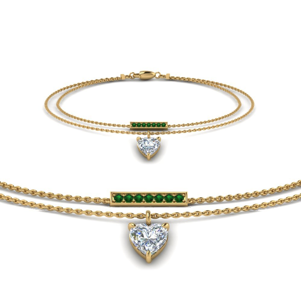 Double Chain Heart Drop Diamond Bracelet With Emerald In 14K Yellow Gold