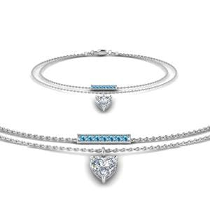 Blue Topaz Double Chain Bracelet