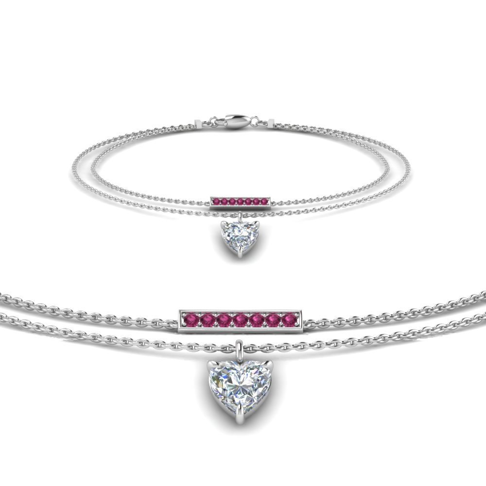 Double Chain Heart Drop Diamond Bracelet With Pink Sapphire In 14K White Gold