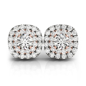 2 Tone Double Halo Stud Earring