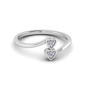 Double Heart Diamond Crossover Ring