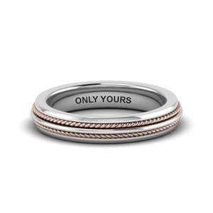 Double Rope 2 Tone Promise Band In 18K White Gold