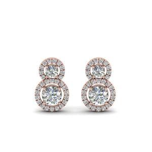 Dual Drop Halo Diamond Earring In 18K Rose Gold