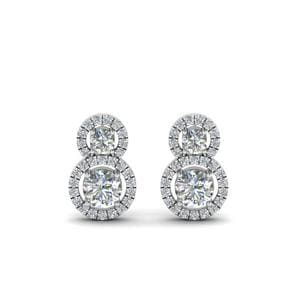 Dual Drop Halo Diamond Earring In 14K White Gold