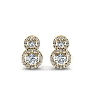 Dual Drop Halo Diamond Earring In 14K Yellow Gold