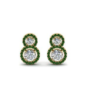 Dual Drop Halo Emerald Earring