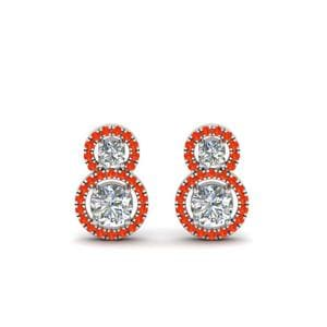 Orange Topaz Drop Halo Earring