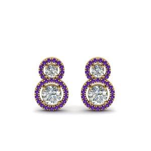 Halo Purple Topaz Drop Earring