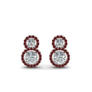Sterling Silver Halo Ruby Earring