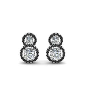 Halo Black Diamond Earring