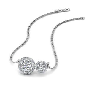 Dual Halo Diamond Pendant In 14K White Gold