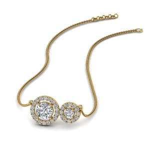 Dual Halo Diamond Pendant In 14K Yellow Gold