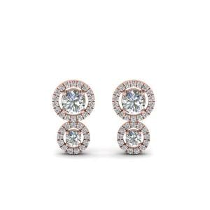 Dual Halo Diamond Stud Earring In 14K Rose Gold