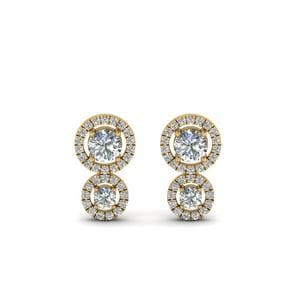 Dual Halo Diamond Stud Earring