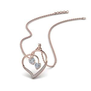 Dual Heart Diamond Pendant In 14K Rose Gold