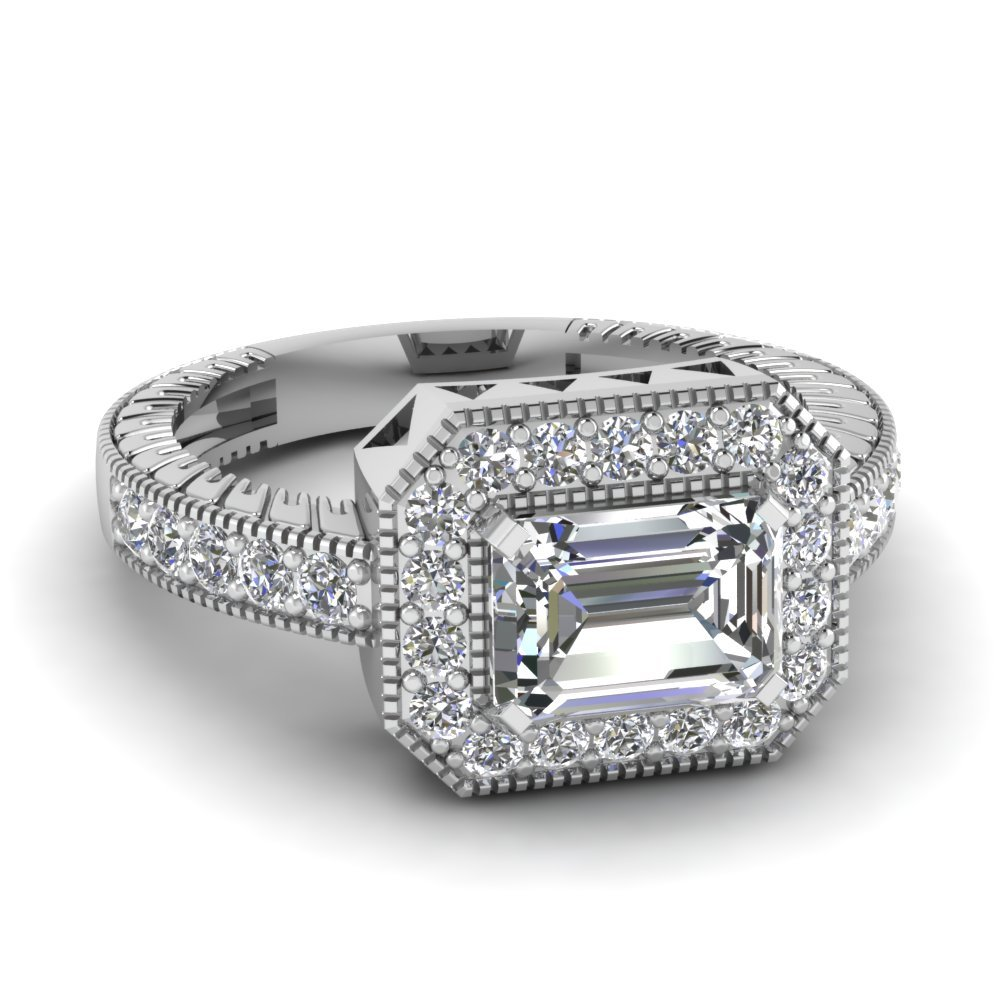 East West Big Emerald Cut Diamond Vintage Engagement Ring In 14K White Gold