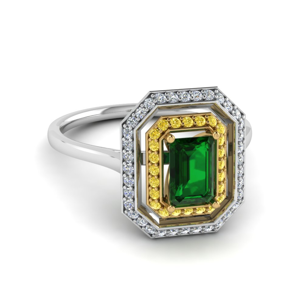 Double Halo Emerald Diamond Anniversary Ring
