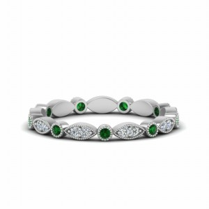 Art Deco Milgrain Emerald Band