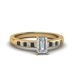 Emerald Channel Princess Cut Enagagement Ring With Black Diamond In 14K Yellow Gold