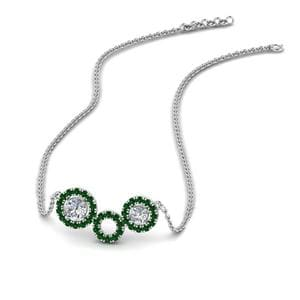 Halo Emerald Pendant Necklace