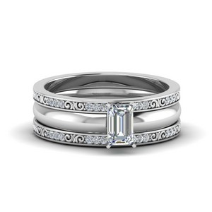 Emerald Cut 3 Piece Diamond Ring