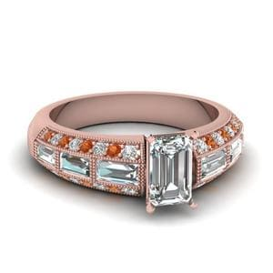 Antique Baguette Emerald Cut Diamond Engagement Ring With Orange Sapphire In 18K Rose Gold