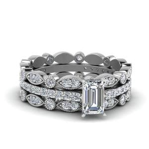 Art Deco Diamond Trio Bridal Set