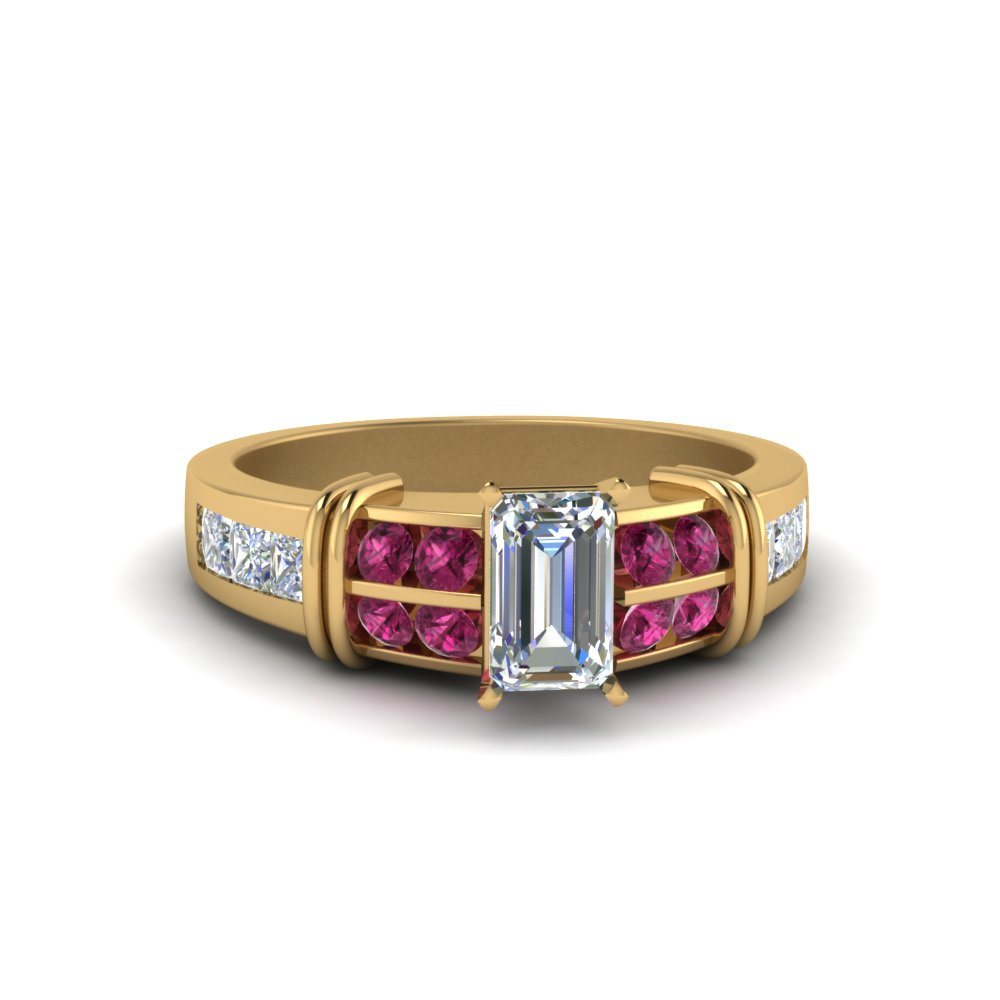 Emerald Cut Bar Channel Set Wide Diamond Ring With Pink Sapphire In 14K Yellow Gold