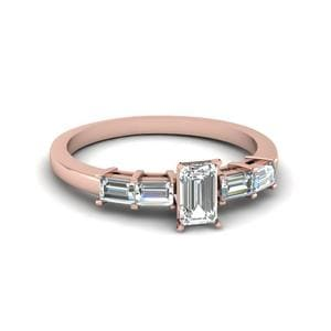 Emerald Cut Basket Prong Baguette Diamond Engagement Ring In 18K Rose Gold