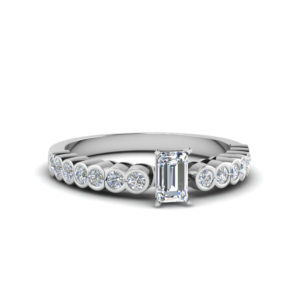 Emerald Cut Bezel Diamond Ring
