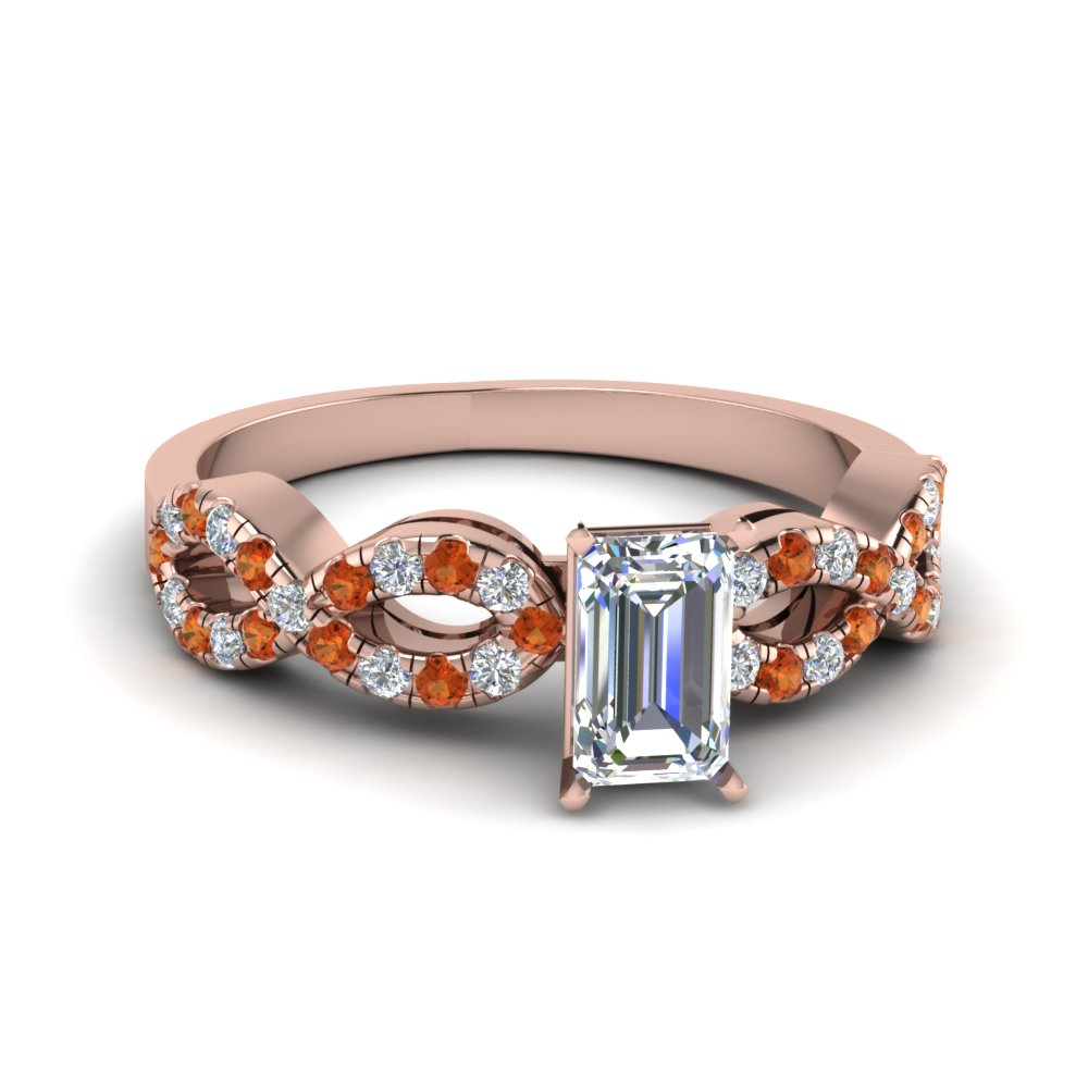Emerald Cut Braided Diamond Engagement Ring With Orange Sapphire In 14K Rose Gold