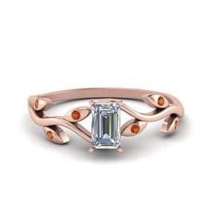 Nature Themed Orange Sapphire Ring