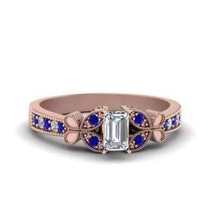 Vintage Butterfly Diamond Engagement Ring With Sapphire In 14K Rose Gold