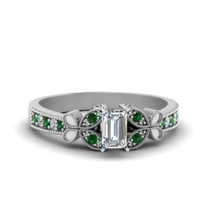 Vintage Butterfly Diamond Engagement Ring With Emerald In 18K White Gold