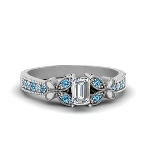 Vintage Butterfly Diamond Engagement Ring With Blue Topaz In 950 Platinum
