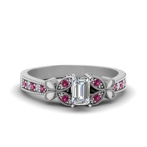 Vintage Butterfly Diamond Engagement Ring With Pink Sapphire In 14K White Gold