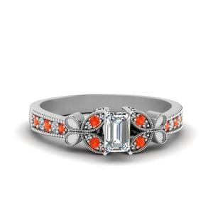 Vintage Butterfly Diamond Engagement Ring With Orange Topaz In 14K White Gold