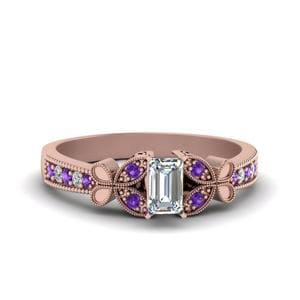 Vintage Butterfly Diamond Engagement Ring With Purple Topaz In 14K Rose Gold