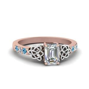 Blue Topaz Emerald Cut Diamond Ring