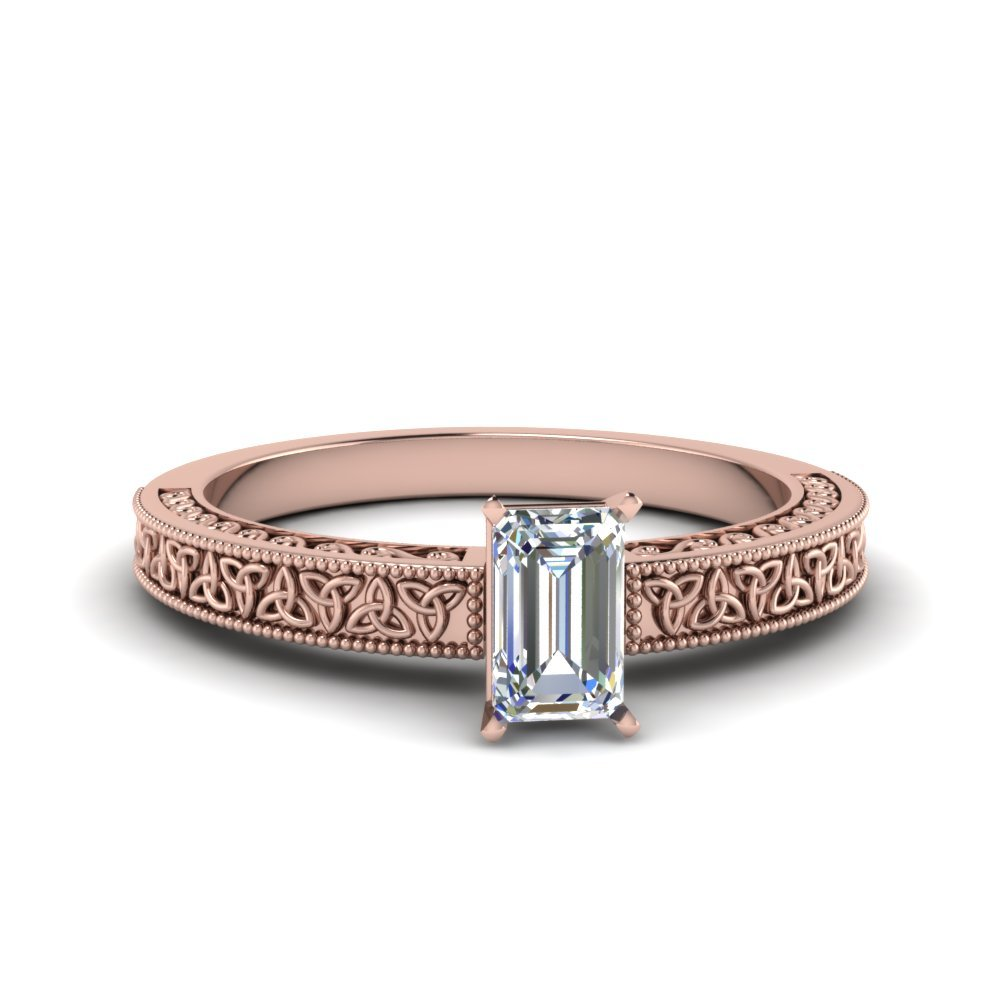 Emerald Cut Celtic Engraved Solitaire Ring In 18K Rose Gold