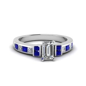 Emerald Cut Channel Bar Set Diamond Engagement Ring For Women With Blue Sapphire In 14K White Gold