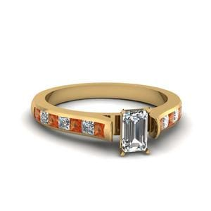 Emerald Cut Cathedral Channel Set Diamond Engagement Ring With Orange Sapphire In 14K Yellow Gold
