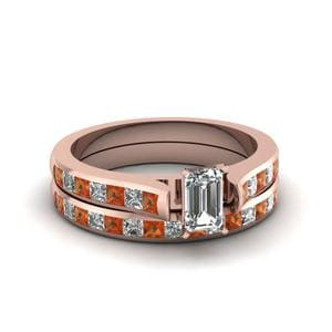 Emerald Cut Orange Sapphire Ring Set