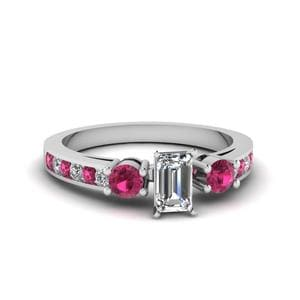 Emerald Cut Channel Three Stone Diamond Ring With Pink Sapphire In 14K White Gold